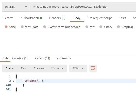 Mautic API Delete Example