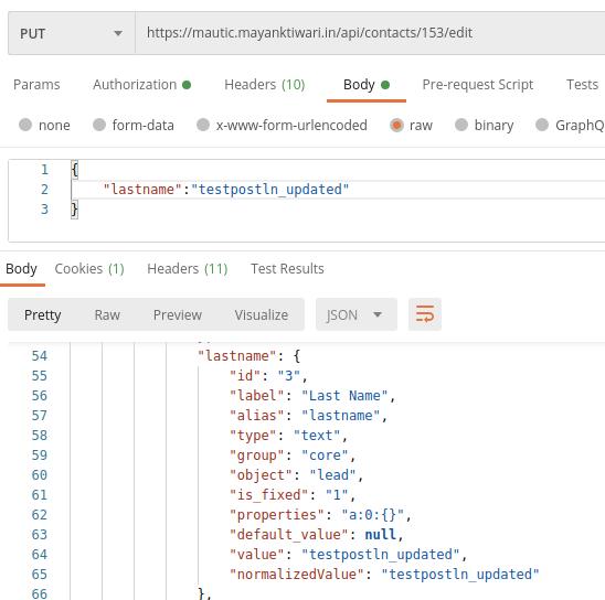 Mautic API edit example