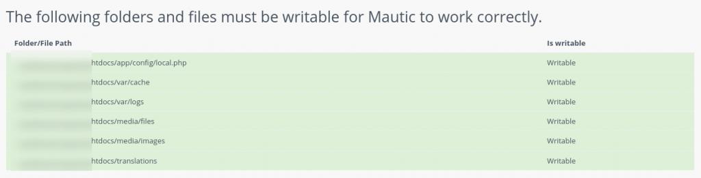 Mautic writable directories