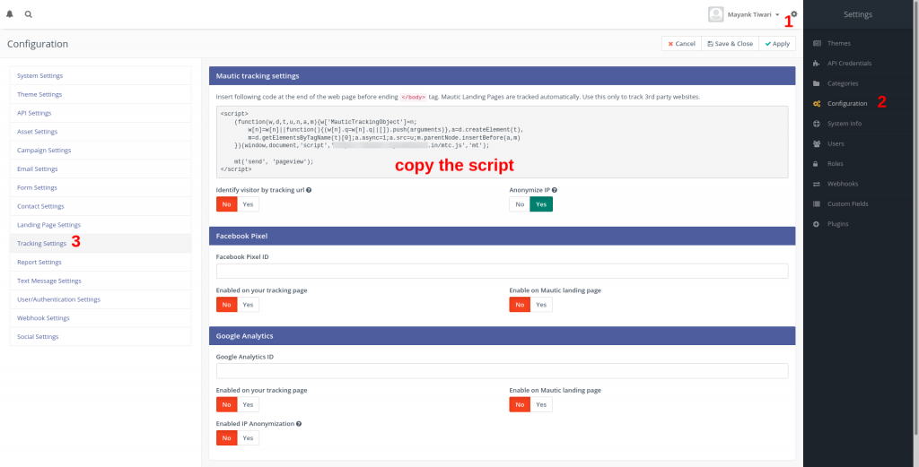 Mautic trackign script